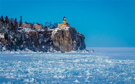 Wallpaper Winter, snow, lighthouse, frozen