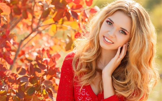 Wallpaper Autumn, blonde girl, smile, red dress, leaves