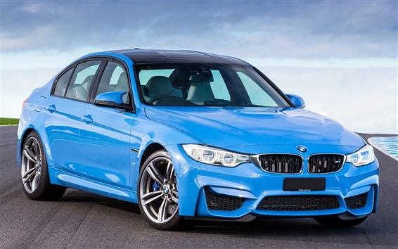 Обои BMW M3 F80 синий автомобиль 2014