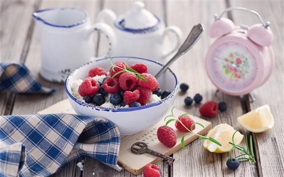 Wallpaper Berries, raspberry, blueberry, alarm clock, bowl