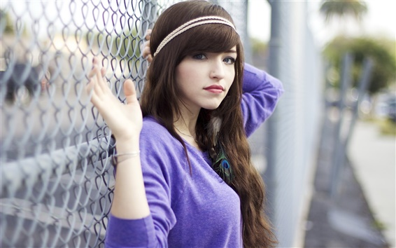 Wallpaper Blue clothes girl, portrait, black hair