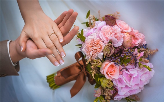 Fond d'écran Bouquet de fleurs, roses, mariage, amour, main