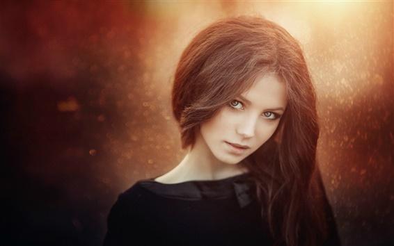 배경 화면 갈색 머리 소녀, 좋은, 나뭇잎