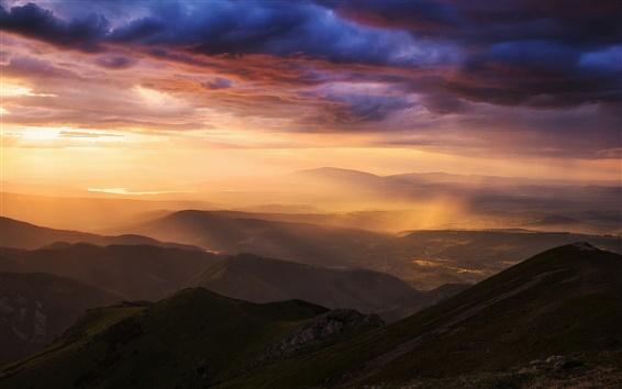 Papéis de Parede Carpathians, montanhas de Tatra, vale, chuva, céu, nuvens