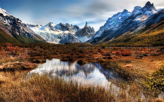 Fond d'écran Chili, Patagonie, montagnes, rochers, la neige, l'eau