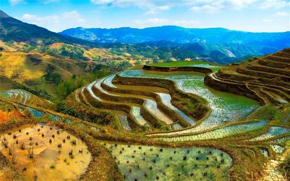 Wallpaper China, terraces, water, mountains, beautiful scenery