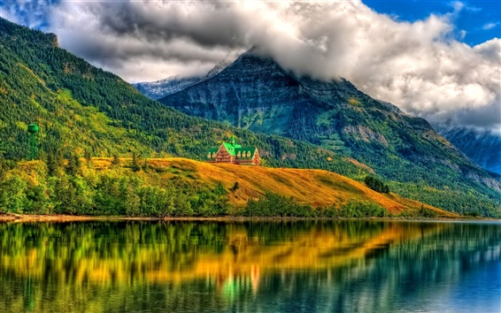 Wallpaper Clouds, mountains, house, forest, trees, lake, water reflection