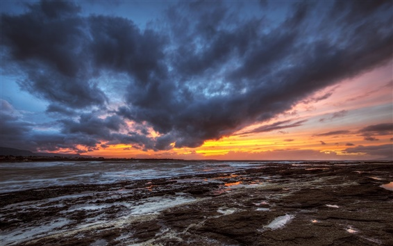 Wallpaper County Donegal, Ireland, evening, sunset, sea, clouds