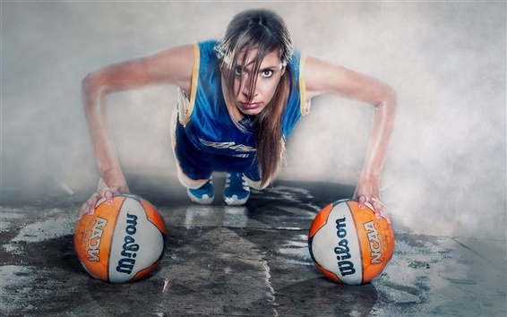 Wallpaper Creative pictures, girl, balls, sport