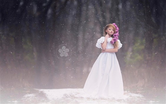 Wallpaper Cute little girl, white dress, snow