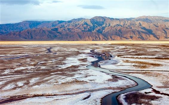 Wallpaper Death Valley, National Park, California, USA, mountains, salt lake
