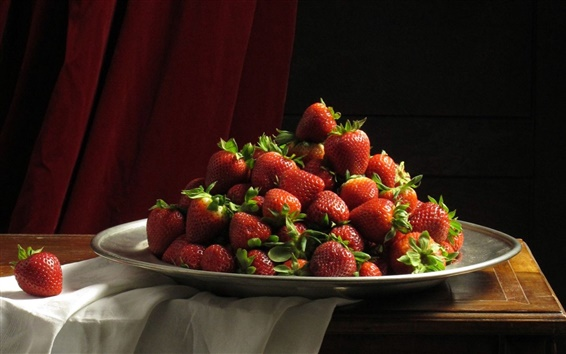 Wallpaper Desktop, strawberries, plates