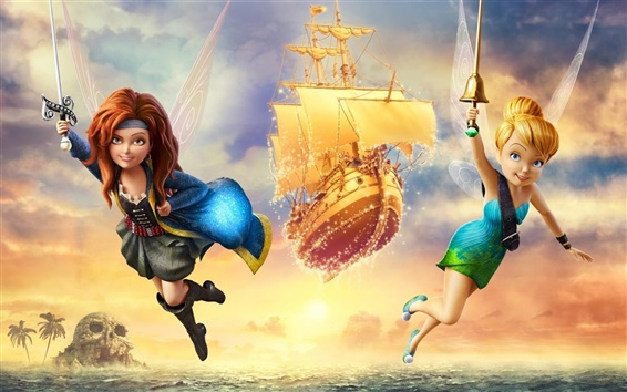 Wallpaper Disney movie, TinkerBell and Pirate Fairy