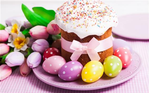 Fond d'écran Pâques, gâteau, oeufs colorés, tulipes