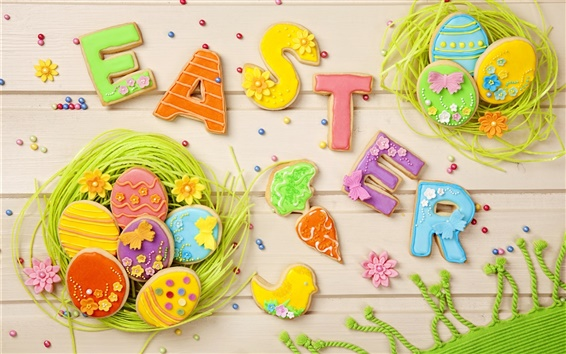 Wallpaper Easter, colorful cookies