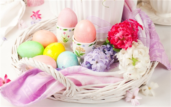 Wallpaper Easter eggs, flowers, decoration, basket