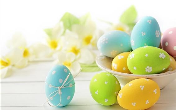 Wallpaper Eggs, Easter, flowers, spring