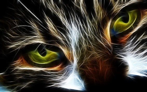 Wallpaper Eyes, cat, abstraction