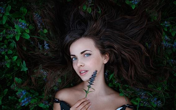 Wallpaper Forest fairy, girl, freckles, flowers
