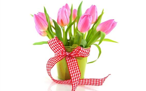 Papéis de Parede Flores frescas, tulipas cor de rosa, fita, vaso