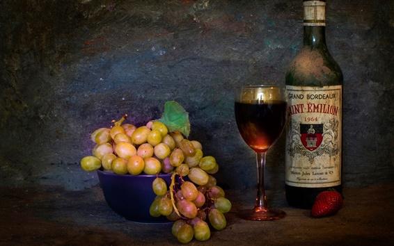 Wallpaper Grapes, bottle, glass, still life, dust