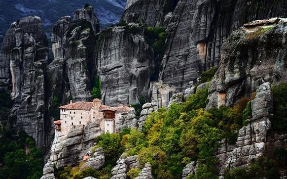 Wallpaper Greece, Meteora, mountains, house, rocks, trees
