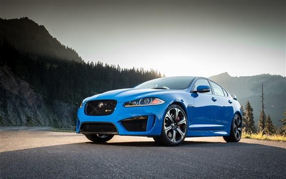 Wallpaper Jaguar XFR-S blue car