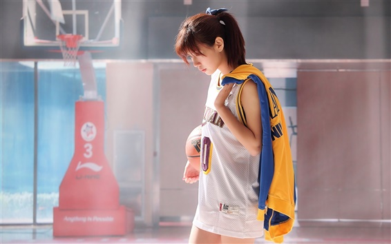 Wallpaper Japanese girl, basketball, training