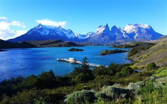 Wallpaper Lake Pehoe, Patagonia, Chile, sky, mountains, pier