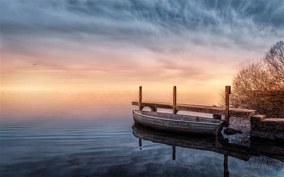 Papéis de Parede Lago, barco, cais, crepúsculo