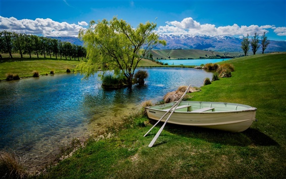 Wallpaper Lake, boat, trees, mountains, clouds