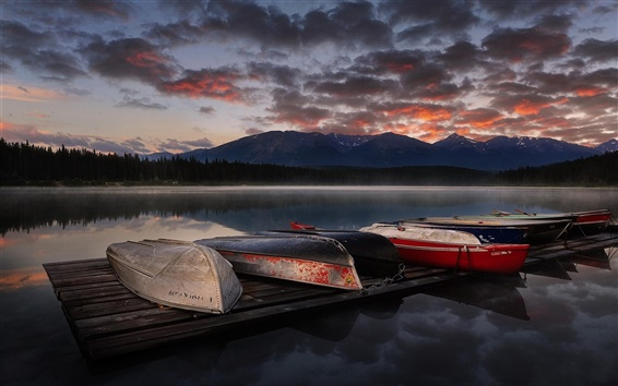 Wallpaper Lake, boats, sunset, mountains, clouds