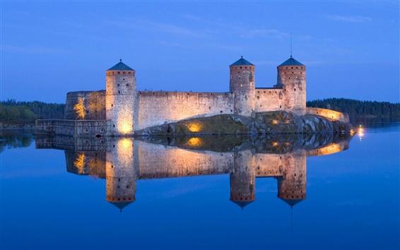 Papéis de Parede Lago, castelo, luz, noite, reflexão, azul