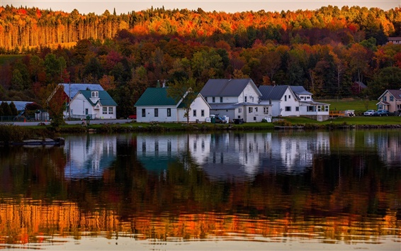 Wallpaper Lake, forest, autumn, houses, water reflection