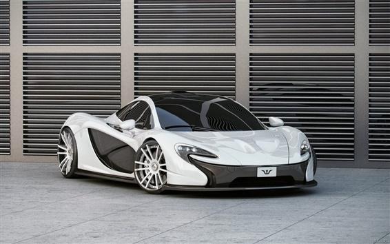 Wallpaper McLaren P1 white supercar front view