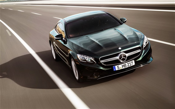 Wallpaper Mercedes-Benz S-Class Coupe, black car, speed