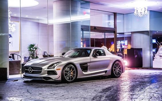 Fond d'écran Mercedes-Benz SLS 63 AMG C197 voiture d'argent