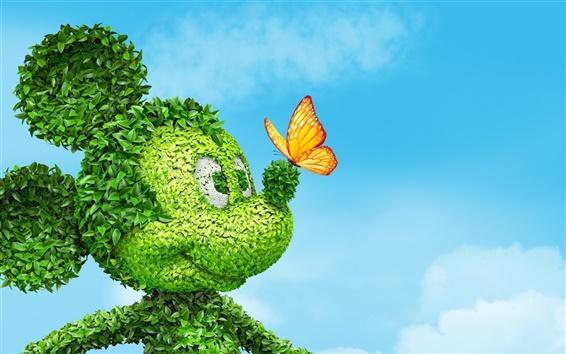 Fond d'écran Mickey Mouse, feuilles, papillon, ciel bleu