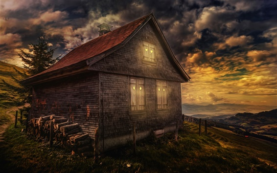 Wallpaper Night, house, sky, clouds, dusk