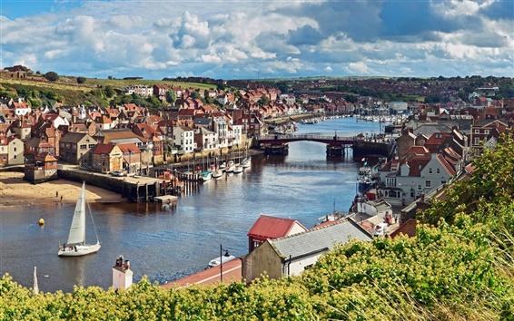Обои Северный Йоркшир, Англия, город, река, мост, дома, лодки