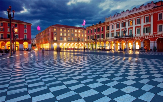Wallpaper Place Massena, Nice, France, night, buildings, lights
