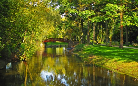 Wallpaper Poland, park, river, bridge, trees, grass