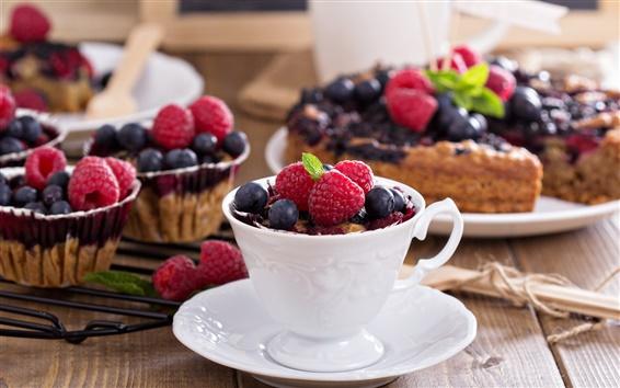 Wallpaper Raspberries, blueberries, cup, cakes