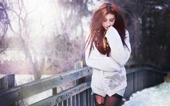 Papéis de Parede Menina de cabelo vermelho, ponte, inverno