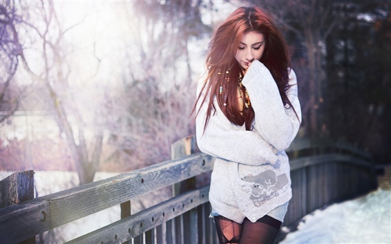 Wallpaper Red hair girl, bridge, winter