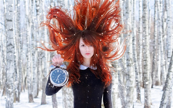 Wallpaper Red hair girl, wind, clock, snow, forest