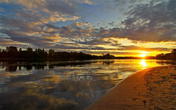 Wallpaper Russia scenery, river, sunset, sky, clouds