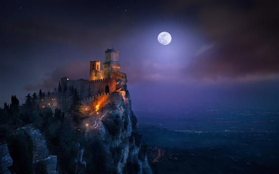 Wallpaper San Marino, fortress, tower, night, light, moon