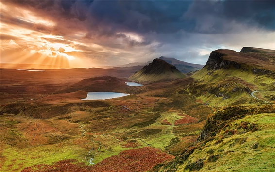 Wallpaper Scotland, Isle of Skye, hills, mountains, lake, sunset, clouds