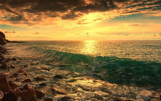 Wallpaper Sea, beach, rocks, waves, dusk
